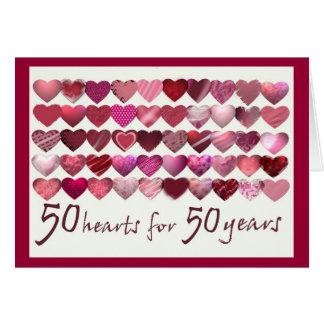 ¡50 corazones por 50 años felicitacion