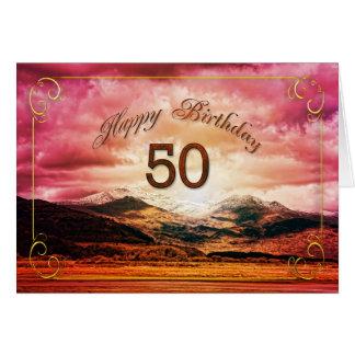 50 cumpleaños puesta del sol sobre las montañas felicitación