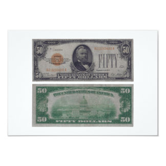 50 Dollar United States Gold Certificate Card
