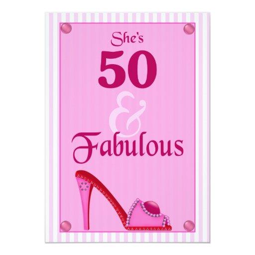 """50 e invitaciones fabulosas del cumpleaños invitación 5"""" x 7"""""""