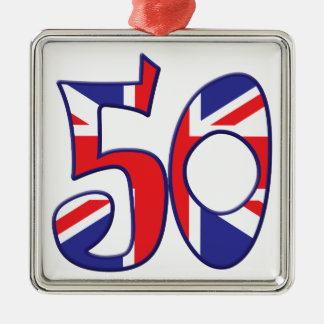 50 edad Reino Unido Adorno Navideño Cuadrado De Metal