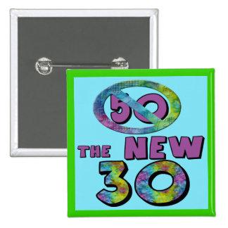 50 el nuevo botón del favor de 30 cumpleaños pin cuadrado