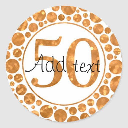 50 en el oro - 50.os pegatinas de la fiesta de pegatina redonda
