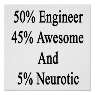 50 Engineer 45 Awesome And 5 Neurotic Poster