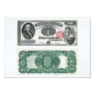 """$50 Estados Unidos observan las series 1880 de la Invitación 3.5"""" X 5"""""""