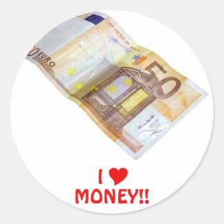 50 Euros Classic Round Sticker