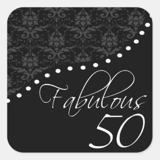 50 fabulosos personalizaron a la fiesta de pegatina cuadrada