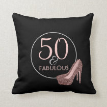 50 & Fabulous | 50th Birthday Black Pink Shoes Throw Pillow