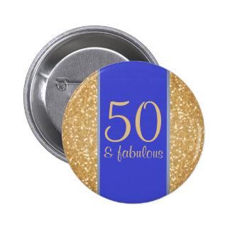 50 & Fabulous 50th Birthday Button