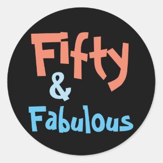 50 & Fabulous 50th Birthday Classic Round Sticker