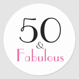 50 & Fabulous | 50th Birthday Classic Round Sticker