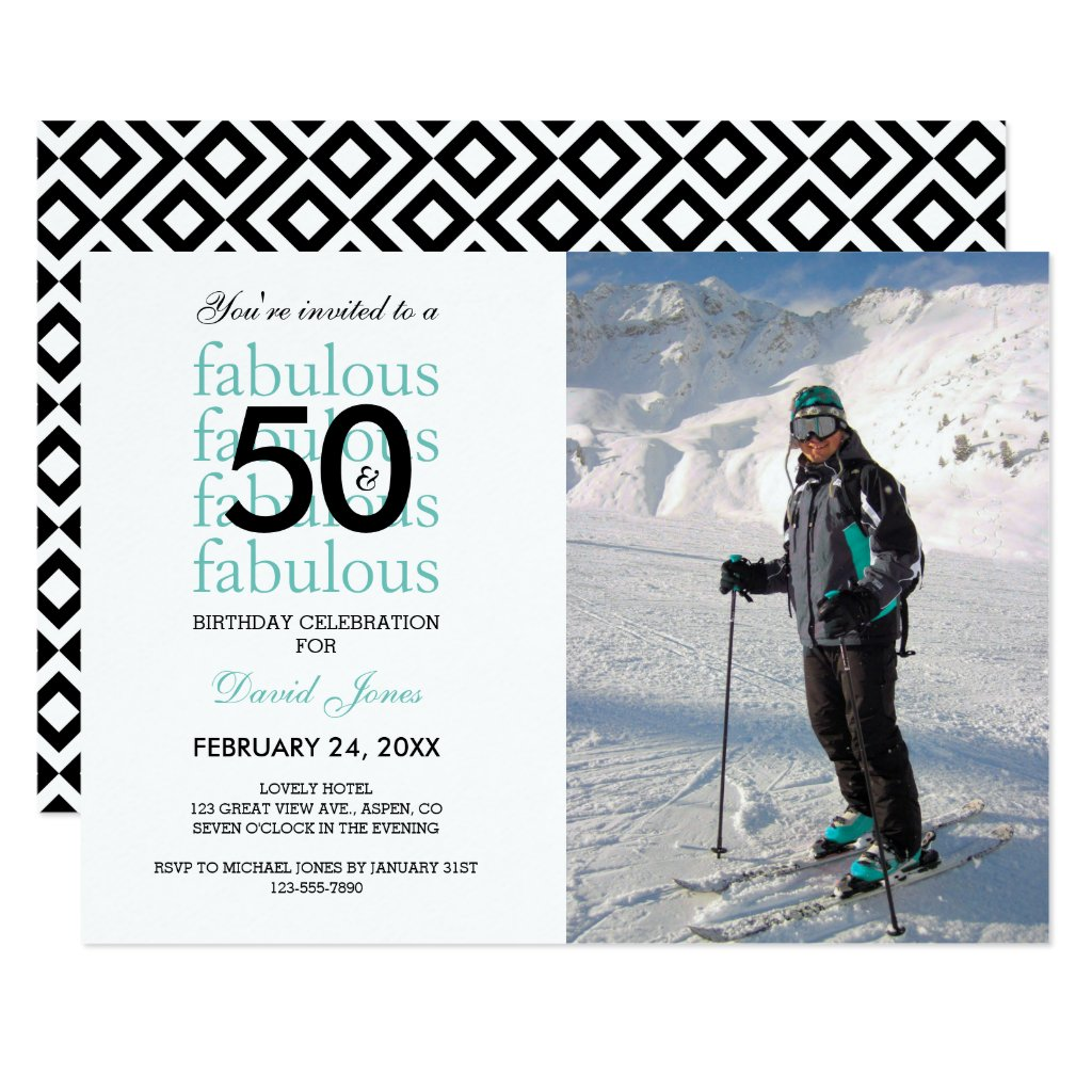 50 & Fabulous 50th Birthday Photo Invitation