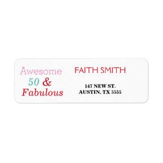 50 & Fabulous 50th Birthday Return Address Label