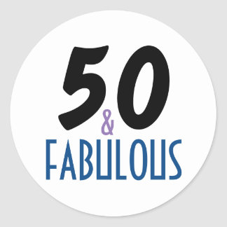 50 & Fabulous | 50th Birthday Typography Classic Round Sticker
