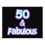 "50 & Fabulous Birthday Gifts 4.25"" X 5.5"" Invitation Card"