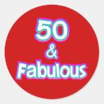 50 & Fabulous Birthday Gifts Round Sticker