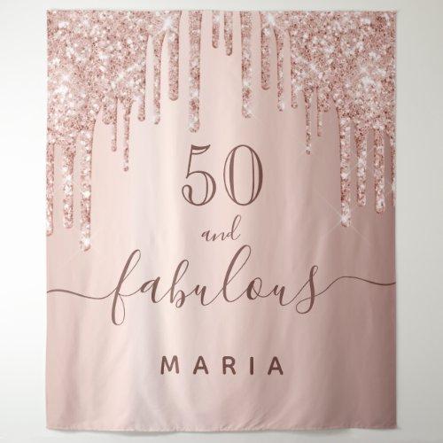 50 fabulous birthday glitter rose gold sparkle tapestry