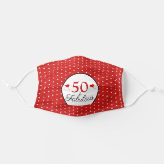 50 & Fabulous Birthday Hearts 50th Party White Red Adult Cloth Face Mask by youphotoit