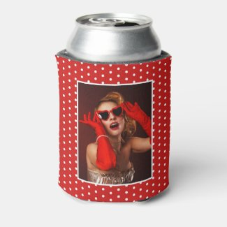 50 & Fabulous Birthday Photo 50th Party White Red Can Cooler