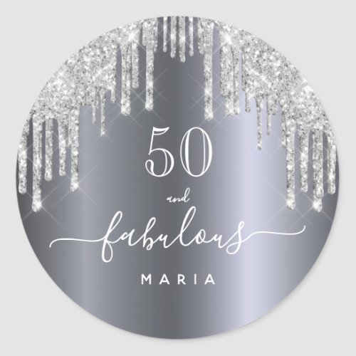 50 fabulous birthday Sparkling glitter silver Classic Round Sticker