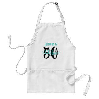 50 & Fabulous Black & Aqua 2 Typography Birthday Adult Apron