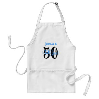 50 & Fabulous Black & Blue 2 Typography Birthday Adult Apron