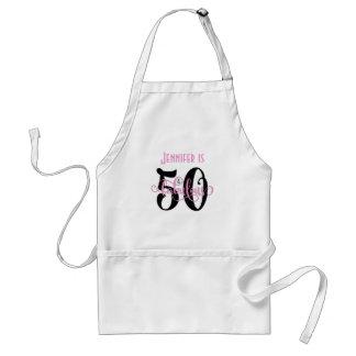50 & Fabulous Black & Pink 2 Typography Birthday Adult Apron