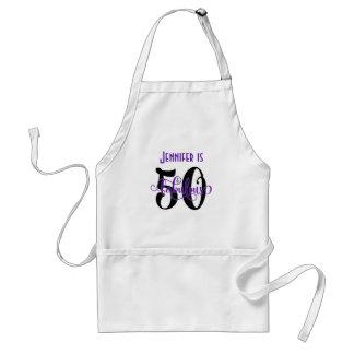 50 & Fabulous Black & Purple 2 Typography Birthday Adult Apron