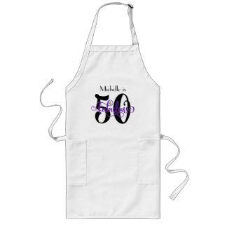 50 & Fabulous Black & Purple Typography Birthday Long Apron
