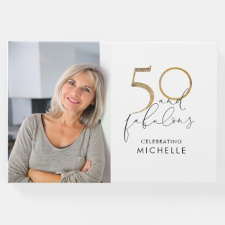 50 & Fabulous Black & White 50th Birthday Photo Guest Book