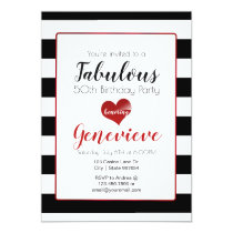 50 & Fabulous | Black & White Stripes Birthday Invitation
