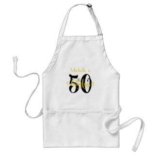 50 & Fabulous Black & Yellow 2 Typography Birthday Adult Apron