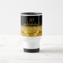 50 fabulous Chic golden bow with sparkle on black Travel Mug