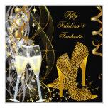 50 Fabulous & Fantastic Leopard Champagne Party 5.25x5.25 Square Paper Invitation Card