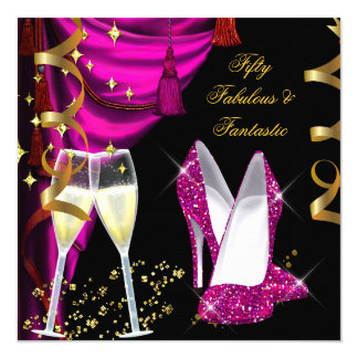 50 Fabulous & Fantastic Pink Champagne Party Card