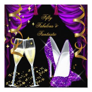 50 Fabulous & Fantastic Purple Champagne Party Card
