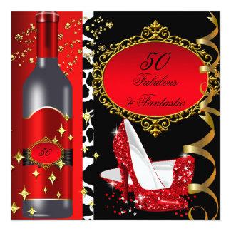 50 & Fabulous Fantastic Red Black Gold Birthday 2 Card