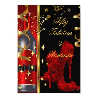50 & Fabulous Fantastic Red Black Gold Birthday Card