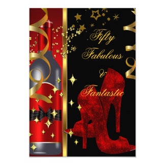 50 & Fabulous Fantastic Red Black Gold Birthday 5x7 Paper Invitation Card
