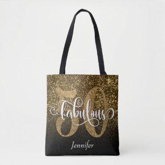 50 & Fabulous Faux Glitter/Black Ombre Tote Bag