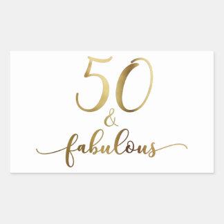 """50 & Fabulous"" Faux Gold, v5 Birthday Cheer Rectangular Sticker"