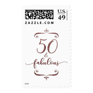 """50 & Fabulous"" Faux Rose Gold Glitter Birthday Postage"
