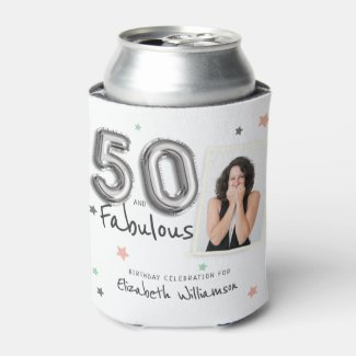 50 & Fabulous Foil Balloon Stars Photo Birthday Can Cooler