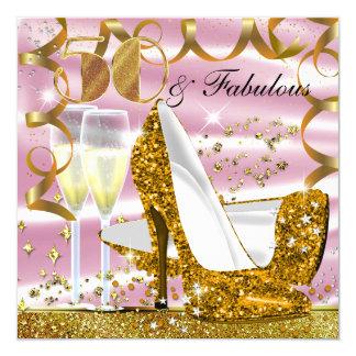 50 & Fabulous Glitter Gold Pink Birthday Invite