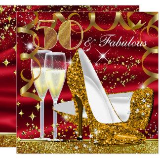 50 & Fabulous Glitter Gold Red Birthday Invite