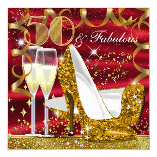 50 & Fabulous Glitter Gold Red Birthday Invite