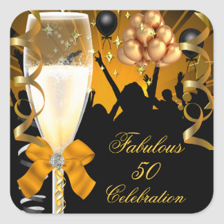 50 & Fabulous Gold Black Birthday Champagne Square Sticker