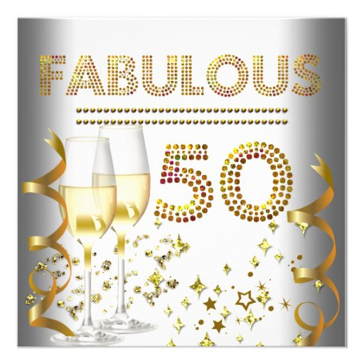 50 Fabulous Gold Champagne Invitation