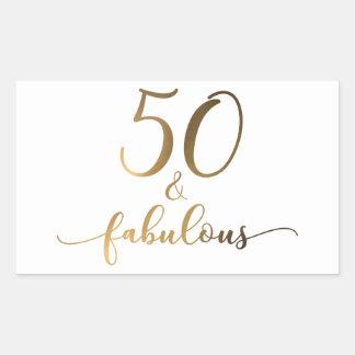 """""""50 & Fabulous"""" Gold Foil Effect v2 Birthday Cheer Rectangular Sticker"""
