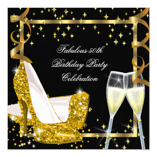50 Fabulous Gold Glitter High Heels Birthday 3 5.25x5.25 Square Paper Invitation Card